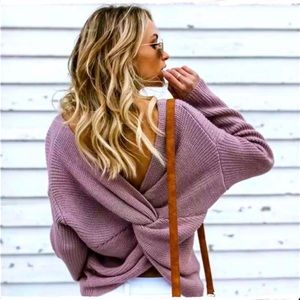 OOTDFASH Knot Back Knit Sweater